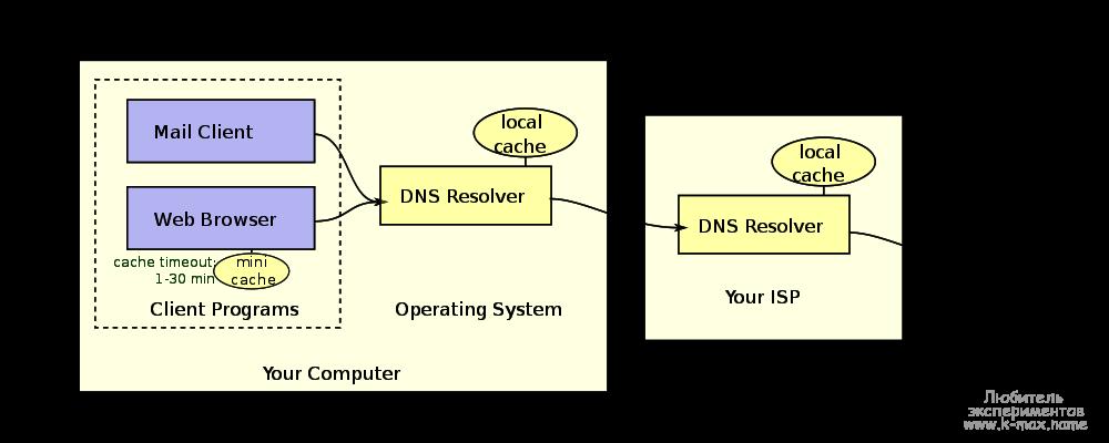 кэши DNS на локальных машинах DNS клиентов