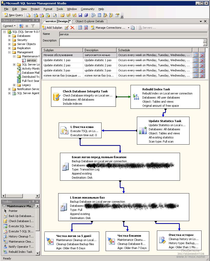 Создание плана обслуживания Ms SQL - первый подплан